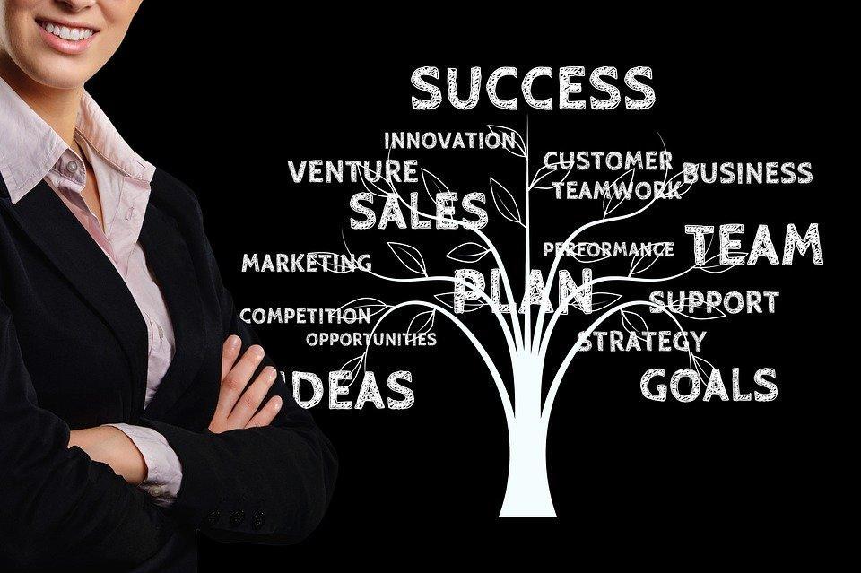 Businesswoman, Business, Tree, Growth, Success, Team