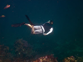 Photo: Jefferson diving down to check out the coral and fish
