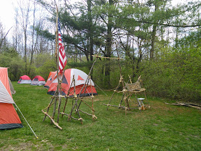 """Photo: Troop 1's winning gateway -- the rope thing on the right spells """"Troop 1"""" in cursive with rope - pretty cool"""