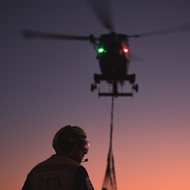 Sunset Silhouette  by Caeron Roberts - Transportation Helicopters ( helicopters, sunset, flying, aviation, wildcat )