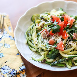 Zucchini Noodles with Speck Ham and White Wine Sauce