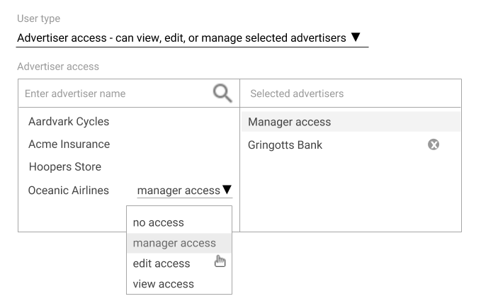 "Select ""manager access"" for a user"