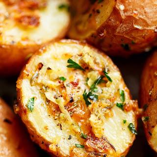 Crispy Browned Butter Parmesan Roasted Potatoes.