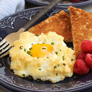 Eggs in a Cloud with Cheddar and Chives.