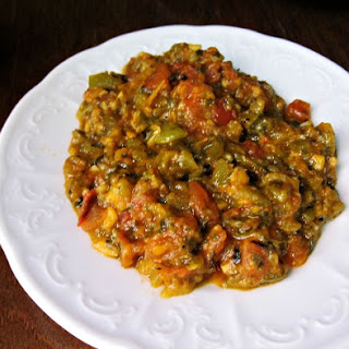 Moroccan Zaalouk with Roasted Eggplant, Peppers and Tomatoes.