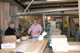 Photo: February 2006 - Month 30: Bob Hawkins with Raymond in his woodwork shop in Fredericksburg, VA. Bob was responsible for all the custom glass doors, hardware, and custom millwork. Incredible craftsman!