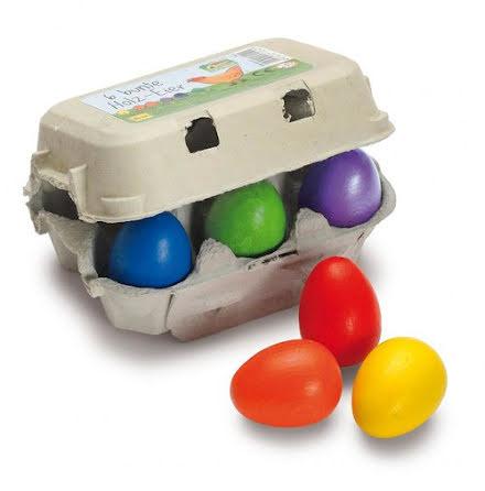 Erzi ägg i trä, 6-pack färgglada