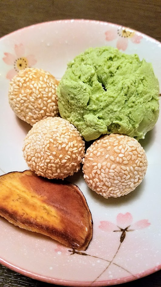 From Shigezo, special dessert menu item of Goma Dango, a dish with fried sesame balls filled with adzuki served with sweet potato chip and your choice of vanilla, adzuki green tea or mango ice cream