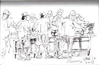 Photo: 打餐盤2012.02.13鋼筆 一聲令下,員餐雜役集合開始做起職員的餐盤。