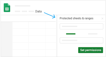 Find the option to set permissions by clicking Data, then Protected sheets and ranges