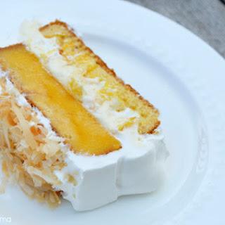 Mango Coconut Poke Cake.
