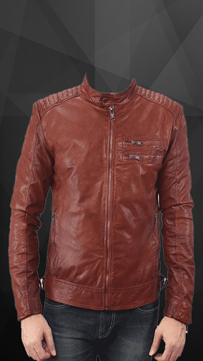 Man Leather Jacket Photo Suit screenshot 1
