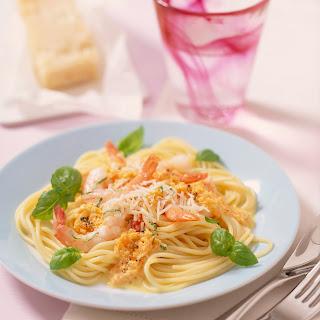 Spaghetti in cremig feiner Möhren-Garnelen-Sauce