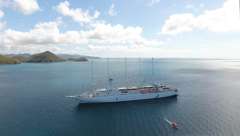 Drone image of Wind Surf anchored at Pigeon Island, St. Lucia.