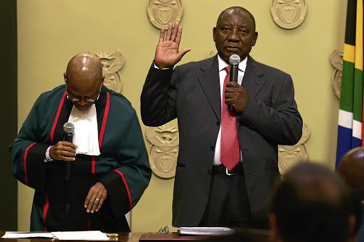 Oath of office: Cyril Ramaphosa is sworn in as president at Tuynhuis in Cape Town on Thursday. Kopano Tlape GCIS