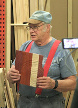 Photo: Just for fun, Bob worked on a notebook cover, per last month's David Reed Smith demo.  Hmmm...  got that one corner just a tad too thin, but good try!