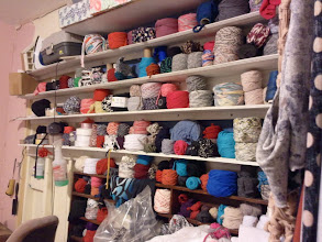 "Photo: The wall of Fabric Yarn.  Located in the ""Sewing Room"""