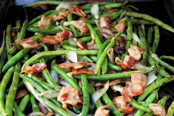 Grilled Fresh Green Beans Ready To Be Served.
