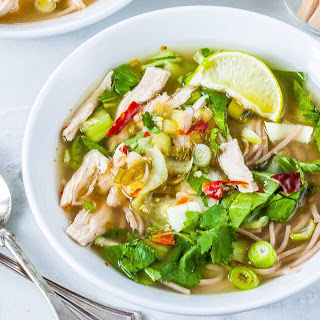 Soba Noodle Soup with Chicken and Bok Choy.