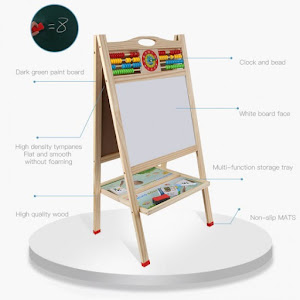 Tabla dubla magnetica din lemn cu abac + set litere magnetice