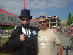 Photo: We were greeted by Abe himself at the Tour de Fat. Part bike ride, part parade, part festival, all bikes!