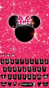 Pink Minnie Glitter keyboard Theme - náhled