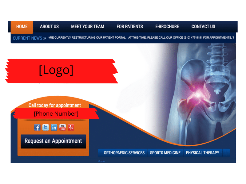 Orthopedic Surgery Practice with redacted logo and phone number.
