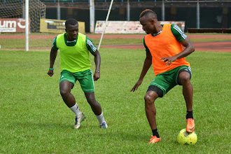 Photo: Sam Bangura and Sherrif Suma [Leone Stars Training Camp, in advance of Equatorial Guinea game, Sept 2013 (Pic: Darren McKinstry)]