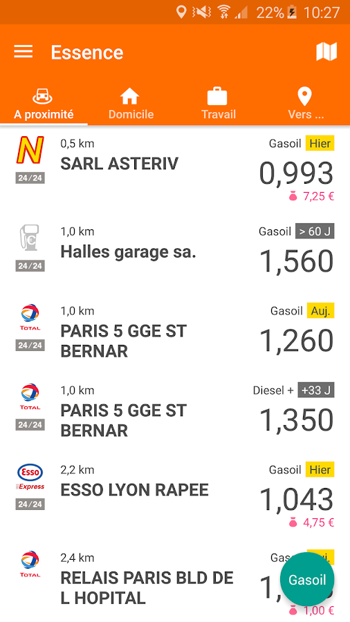 Essence Comparateur Carburant- screenshot