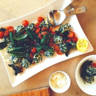 Spinach and Ricotta Gnudi with Tomato, Lemon and Basil