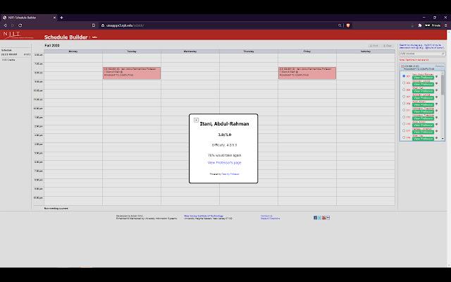 NJIT Schedule Builder RMP