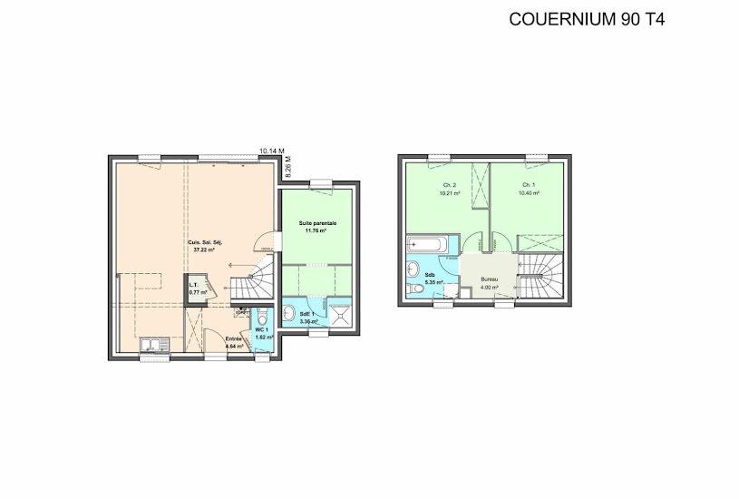 Vente Terrain + Maison - Terrain : 400m² - Maison : 95m² à Thouaré-sur-Loire (44470)