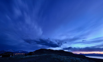 Photo: Things that go bump in the night Spanish Fork, UT. 2012.  +Scott Jarvie led our intrepid band of photographers up to this lookout point through what can only be described as the quickest, steepest, sharpest, trail to the top of the hill. (He even scared himself).  We enjoyed a magnificent sunset punctuated with a perfect #bluehour .  On our way back we ran into +Nate Isaksen on the side of the road, his car had gone bump on the way up against something sharp and had to be abandoned at the top of the hill. This was just one of the few mishaps that was plaguing our band as the last day of the #jarviewalk was coming to a close. (You'll have to ask +Karen Hutton about her mishap back at the lake beach parking lot - we haven't heard back what the prognosis is for her 70-200mm, and I'm hoping its all A-OK)  Oh -- so this is my hand for #panopoker , this week's themere is bluehour, +Barry Blanchard, I give you lots fo blues, some purples, and threw in some orange to boot. Muck your hand now.  In case you are wondering that is the jarviemovil, and +Michael Bonocore's car.