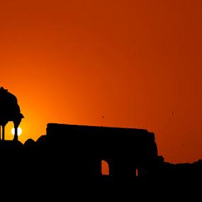 Purana Qila - The Old Fort by Mrigankamouli Bhattacharjee - Buildings & Architecture Public & Historical ( old, fortress, sunset, india, architecture, fort, evening, delhi )