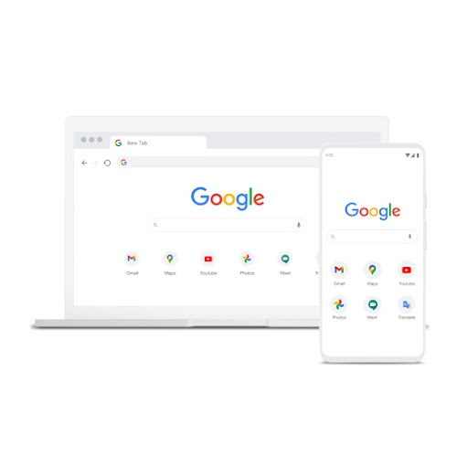 A laptop and phone featuring Chrome