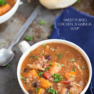 {Slow Cooker} Sweet potato, chicken, and quinoa soup.