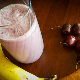 Banana Cherry Smoothie with Coconut.