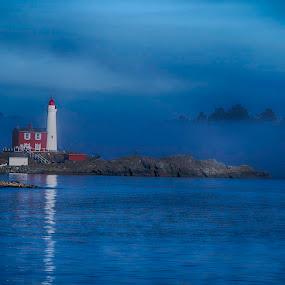 Fisgard Lighthouse in fog by GThomas Muir - Landscapes Sunsets & Sunrises ( fisgard, fog, lighthouse, victoria, landscape, black and white, b and w, b&w, monotone, mono-tone )