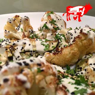 Roast Cauliflower & Zucchini w/ Tahini Yoghurt & Black Sesame Seeds.