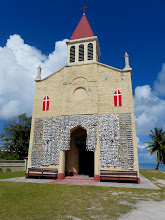 Photo: Oyster shells cover the front of the local church...