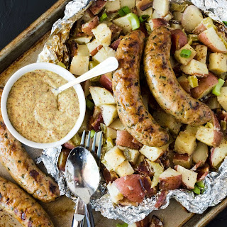 Grilled German Potato Salad with Sausage.