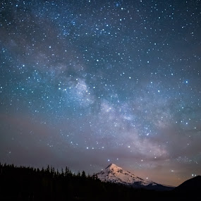 Milky Way Rises over Mount Hood, Oregon by Sandra Woods - Landscapes Starscapes ( clouds, oregon, lost lake, blue, stars, night, lake, milky way )