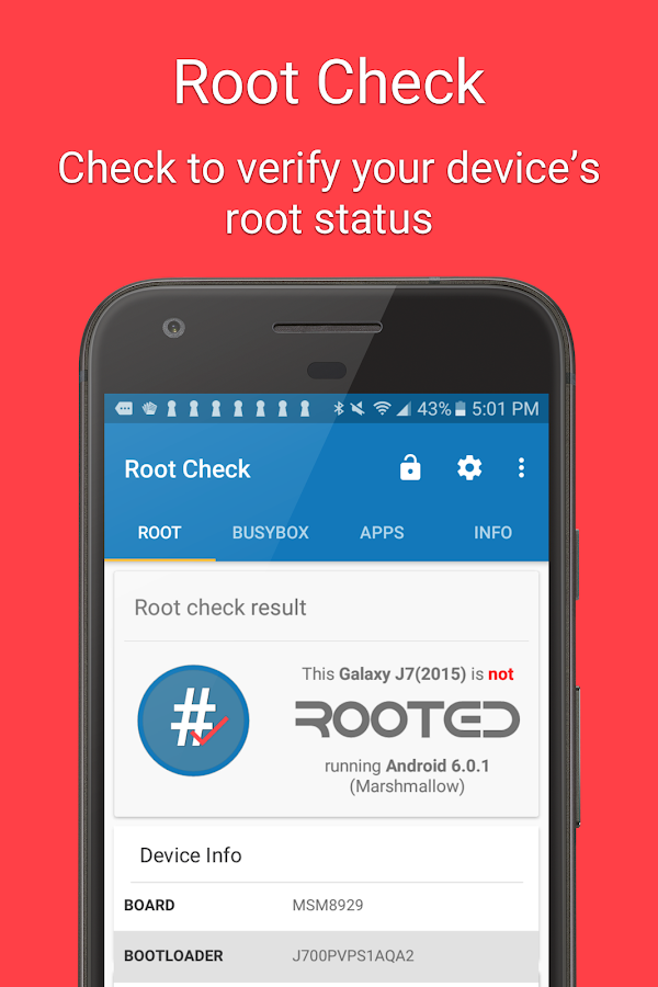Root Check – zrzut ekranu