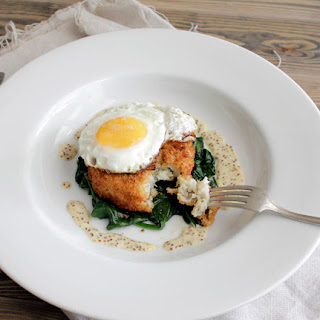 Cod & Potato Cake w/ Baby Spinach and Grain Mustard Sauce