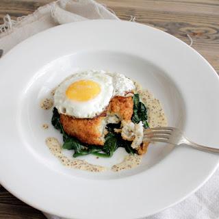 Cod & Potato Cake w/ Baby Spinach and Grain Mustard Sauce.