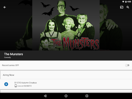 Using the Detailed Info screen in the Google Fiber TV app on Android.