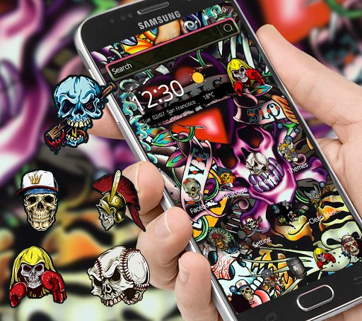 Rock Skull Graffiti Theme & Lock Screen & Call  screenshots 1