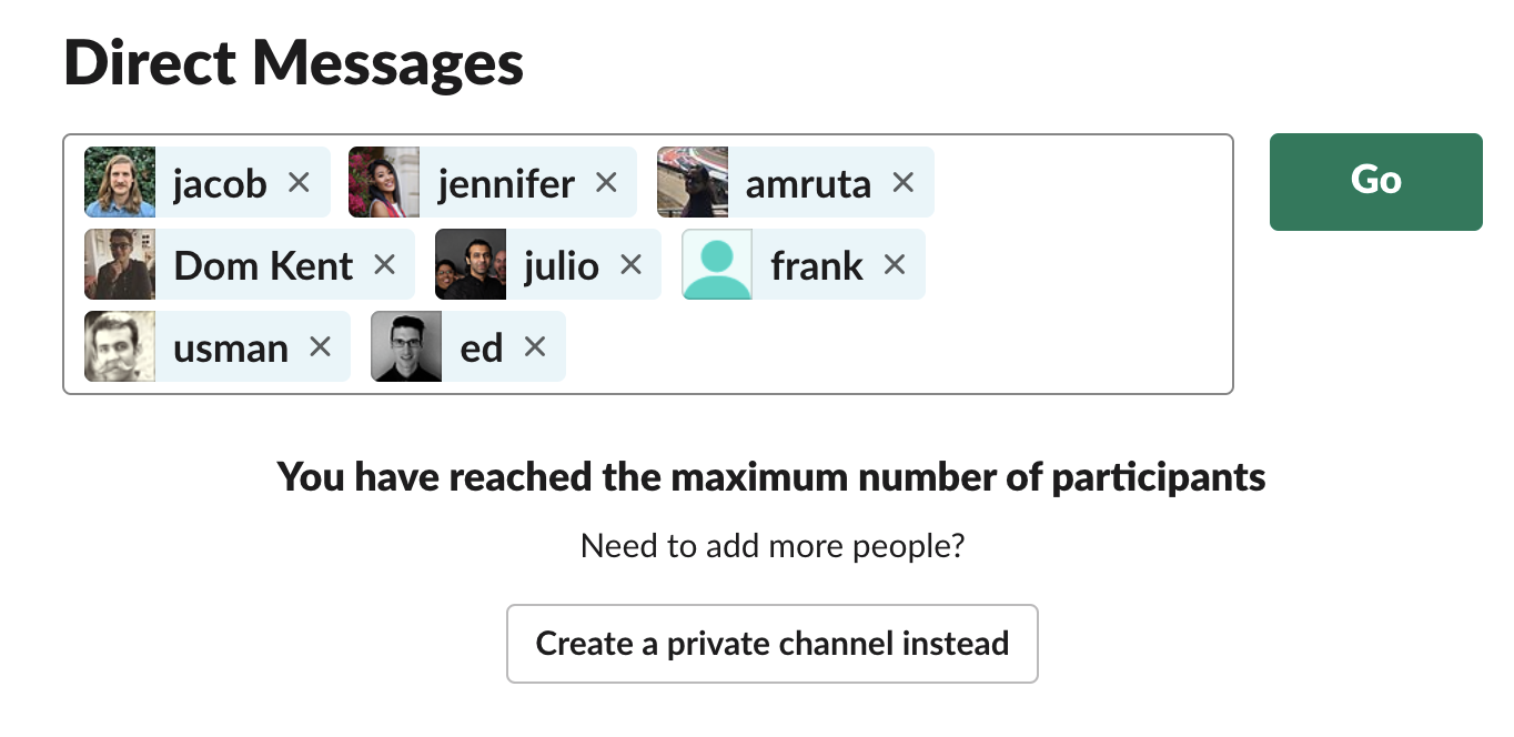 Membership in Slack group DMs is limited to 9, but in Teams, multi-party convos can be up to 100.