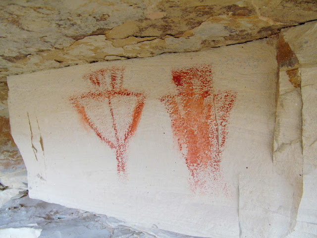 Orange and red Fremont pictographs