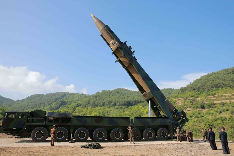 The intercontinental ballistic missile Hwasong-14 is seen in this undated photo released by North Korea's Korean Central News Agency (KCNA) in Pyongyang, on July 4 2017. Picture: KCNA VIA REUTERS